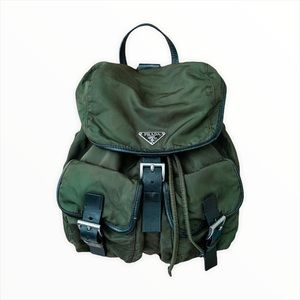 VTG Auth Prada Nylon Dark Green Khaki Backpack